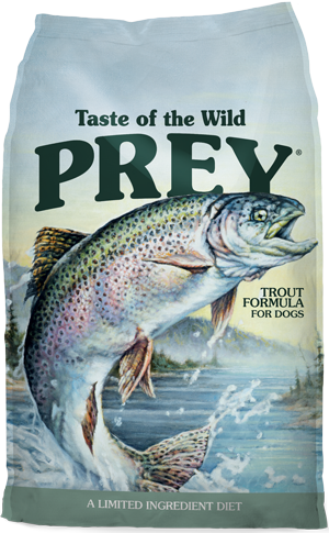 Prey Trout Formula for Dogs product bag - click for more information