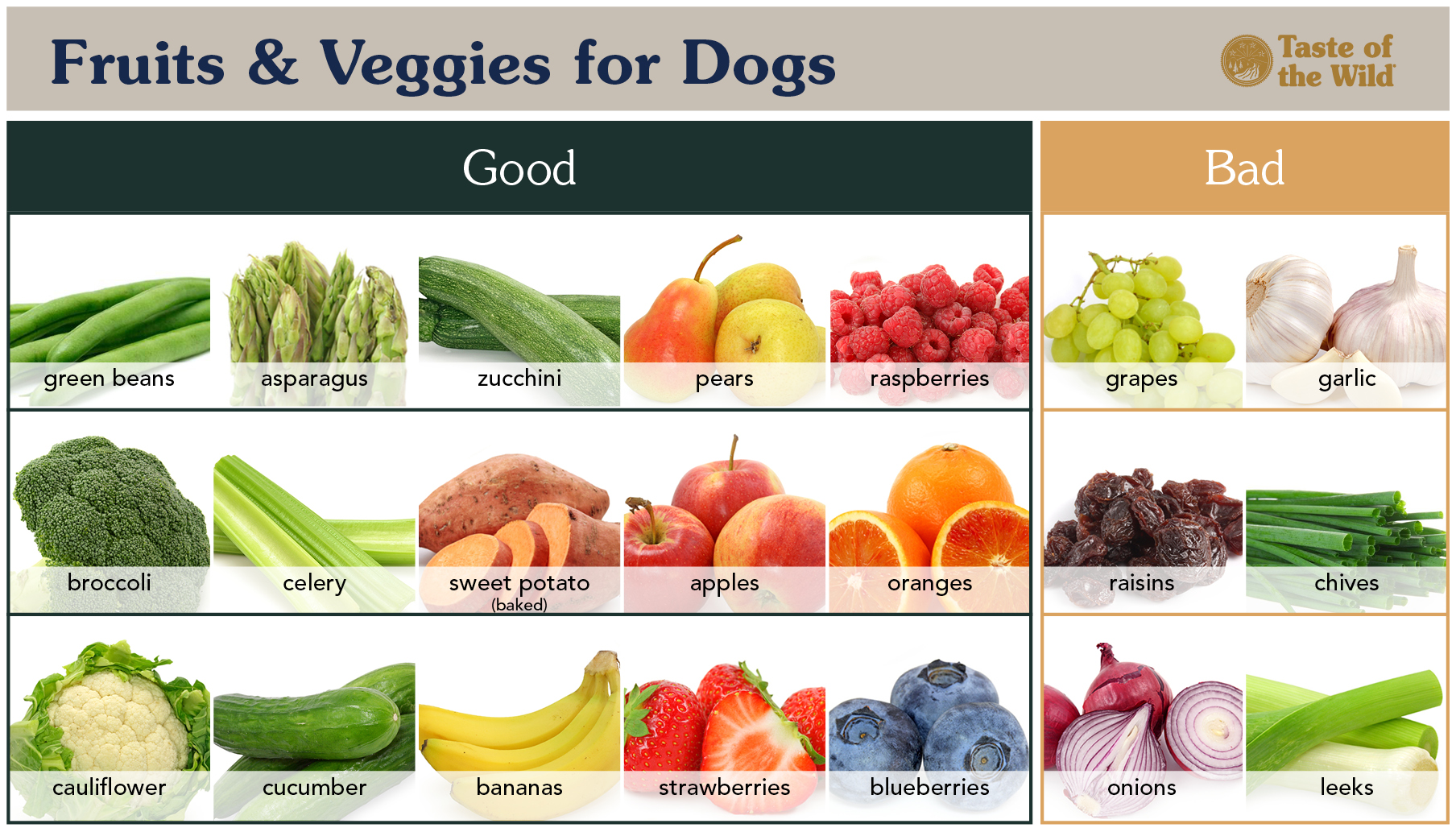 Good and Bad Fruits and Veggies for Dogs Chart | Taste of the Wild