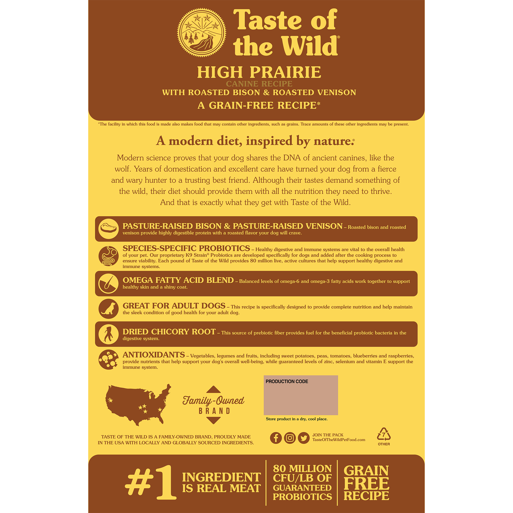 High Prairie Canine Recipe with Roasted Bison & Roasted Venison bag back